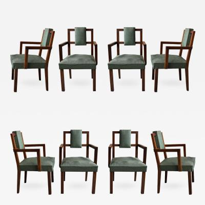 Set of Eight Fine French Art Deco Modernist Bridge Armchairs