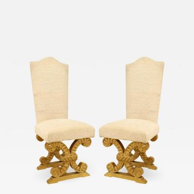 Set of Eight French Gilt and Upholstered Side Chairs