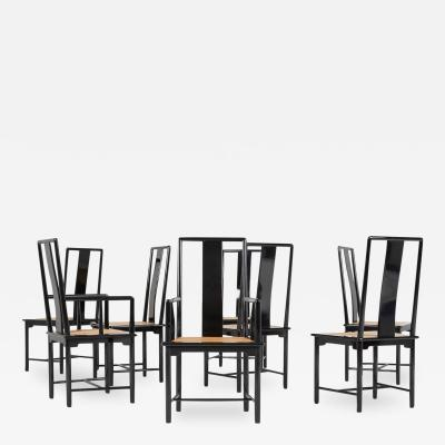 Set of Eight Italian Lacquered Dining Chairs 1970s Restored