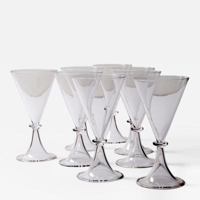Set of Eight Modernist Champagne Goblets