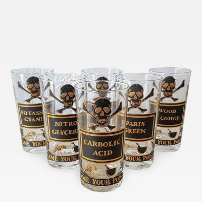 Set of Eight Vintage 22 Carat Gold Name Your Poison Highball Glasses