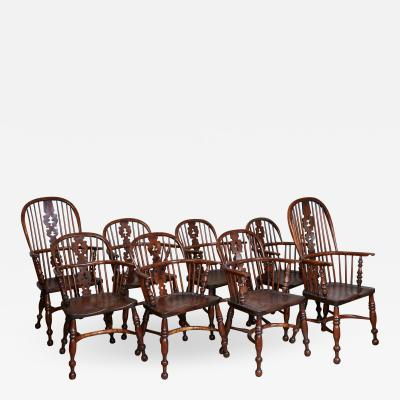 Set of Eight Yew Wood Windsor Chairs