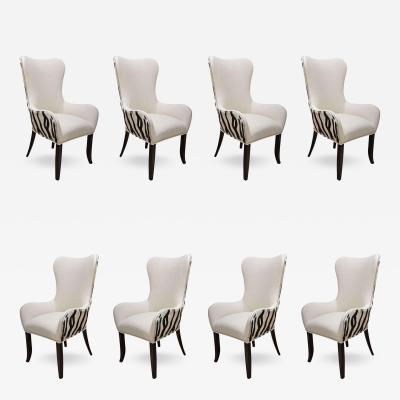 Set of Eight Zebra Stenciled Cowhide Dining Chairs