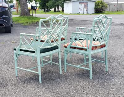 Set of Faux Bamboo Armchairs in Original Paint