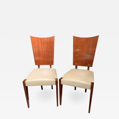 Set of Five Midcentury Art Deco Style Shield Back Dining Office or Side Chairs