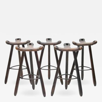 Set of Five Spanish Brutalist Bar Stools in Solid Wood 1960s