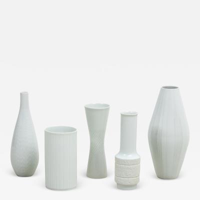 Set of Five White Bavarian Vases