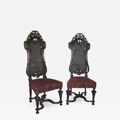Set of Four 17th century English William Mary Chairs