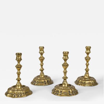 Set of Four 18th C Brass Candlesticks