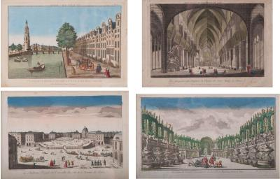 Set of Four 18th Century French Hand Colored Lithographs