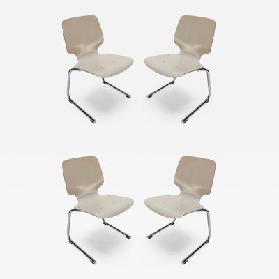 Set of Four 1970s German Chrome and Wood Dining Chairs