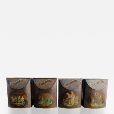 Set of Four 19th C English Tole Spice Canisters
