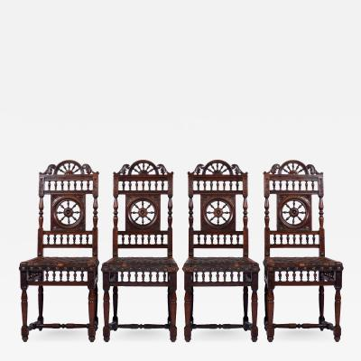 Set of Four 4 French Breton Dining Chairs 19th Century France