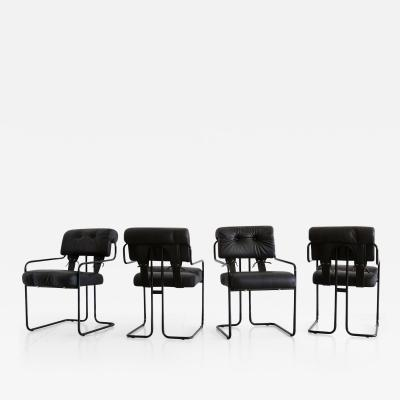 Set of Four Black Leather Pace Tucroma Chairs