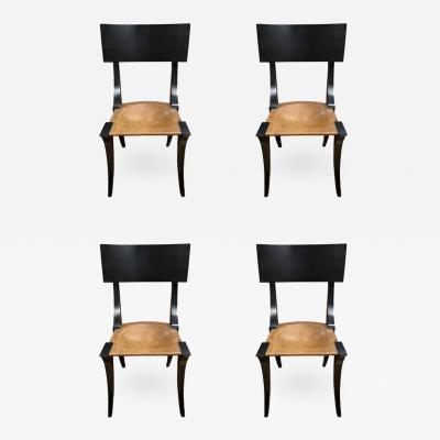 Set of Four Black Painted Klismos Chairs 20th Century