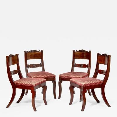 Set of Four Brass Inlaid Mahogany Klismos Chairs