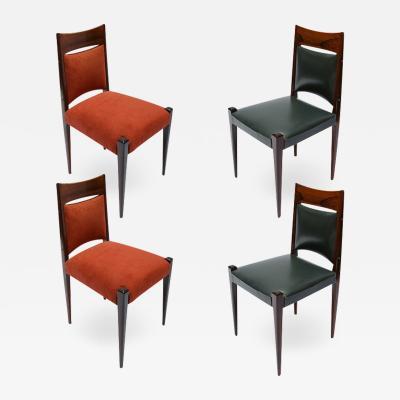 Set of Four Brazilian Jacaranda Mid Century 1960s Dining Chairs