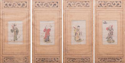 Set of Four Chinese Scholars Paintings