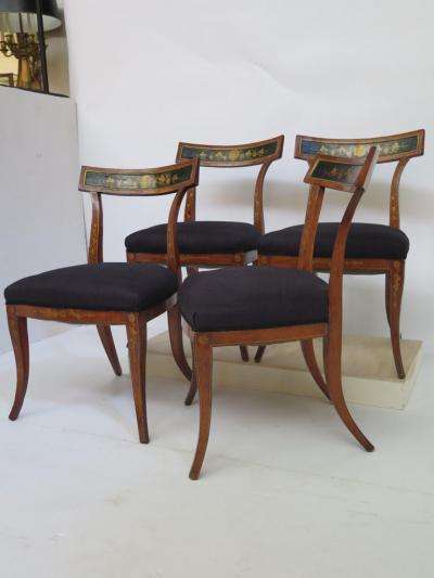 Set of Four English Regency Fruitwood Side Chairs Chinoiserie Decorated