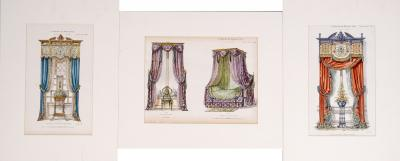 Set of Four Engravings of French Drapery Curtain Tenting Designs