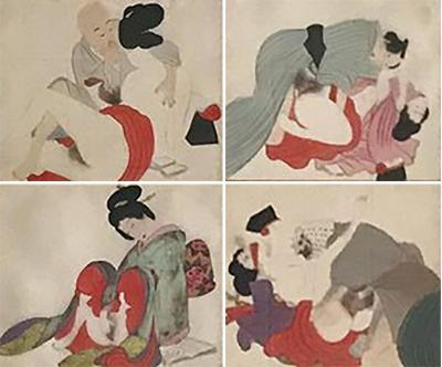 Set of Four Framed Antique Japanese Shunga Paintings on Silk