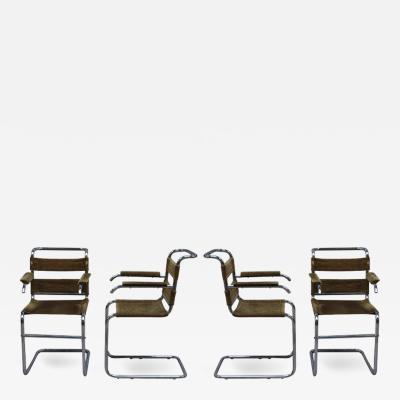 Set of Four French 1940s Tubular Chrome Frame Chairs