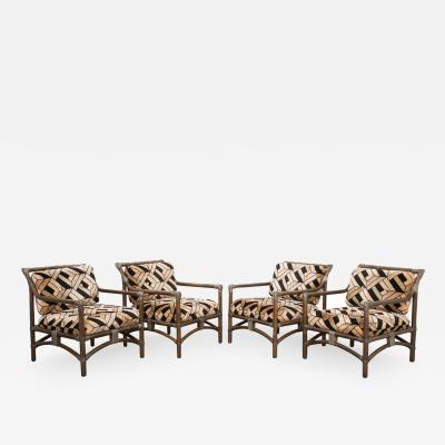 Set of Four French Mid Century Modern Rattan Armchairs