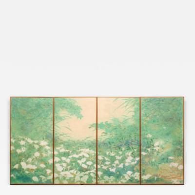 Set of Four Fusuma Sliding Door Panels Wild Lily Patch
