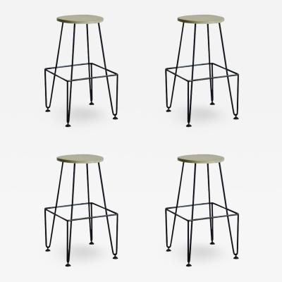 Set of Four Industrial Counter Height Bar Stools