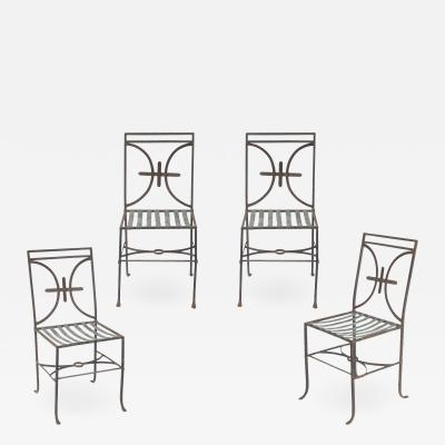 Set of Four Iron and Zinc Chairs