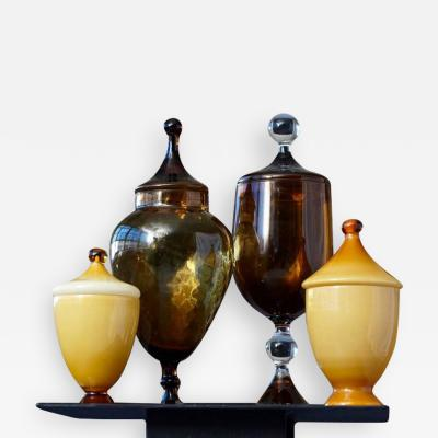 Set of Four Italian Lidded Glass Vessels in Caramel and Amber Tones circa 1950
