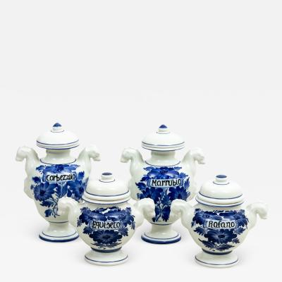 Set of Four Italian Painted Blue and White Apothecary Jars