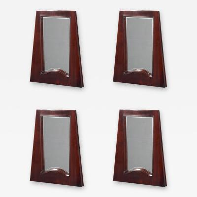 Set of Four Italian Stained Fruitwood Trapezoidal Mirrors