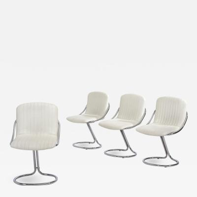 Set of Four Italian White Chrome Cantilever Dining Chairs 1970