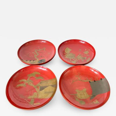 Set of Four Japanese Maki e Lacquered Pedestal Dishes