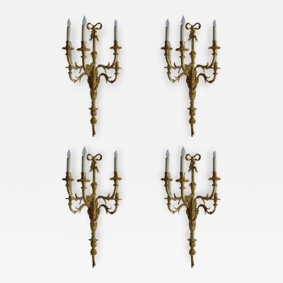 Set of Four Large French Gilt Bronze Sconces