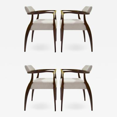 Set of Four Modern Brass Accented Walnut Armchairs 1950S
