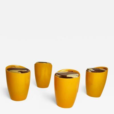 Set of Four Orange Fiberglass Stools with Velvet Upholstery