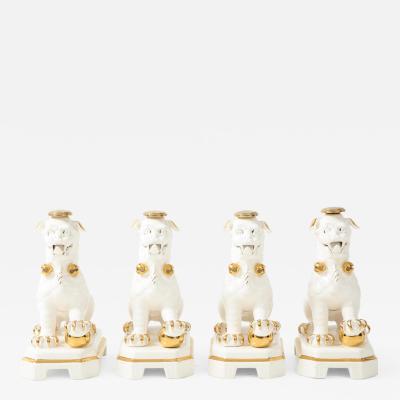 Set of Four Porcelain White Gold Foo Dogs