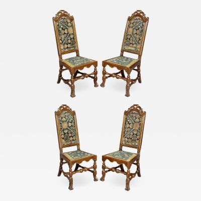 Set of Four Queen Anne Walnut and Parcel Gilt Side Chairs