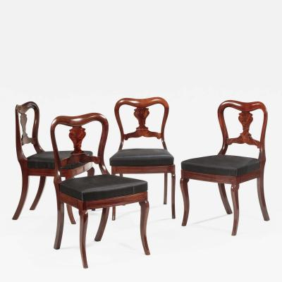 Set of Four Restauration Mahogany Dining Chairs