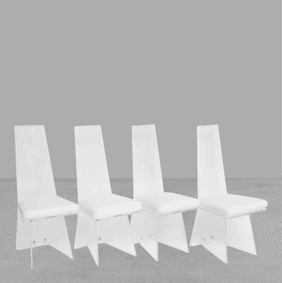 Set of Four Sculptural Mid Century Modern Lucite Chairs