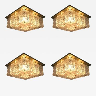 Set of Four Square Wall Sconces or Flush Mount Lamps Glass and Brass by Limburg