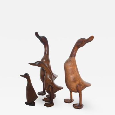 Set of Four Standing Wood Ducks Ducklings Graceful Dynasty Family 1950s USA