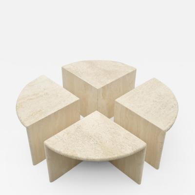 Set of Four Travertine Side Or Coffee Tables Italy 1970s
