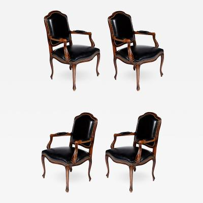 Set of Four Walnut and Leather Fauteuil