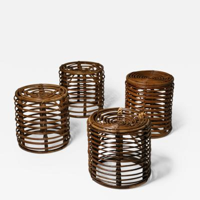 Set of Four Wicker Stools