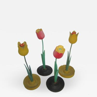 Set of Four Wood Flowers