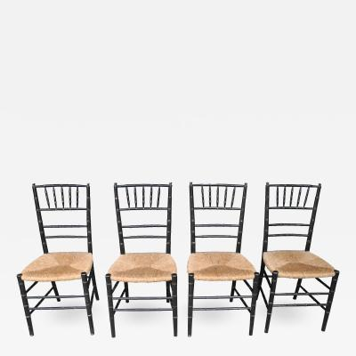 Set of Four Wooden Faux Bamboo Decorative Chairs