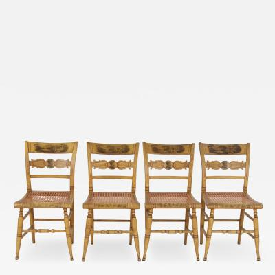 Set of Four Yellow Fancy Chairs with Portrait of Benjamin Franklin c 1820
